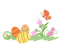 Easter eggs with flowers and butterfly - vector Stock Photos