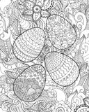 Easter eggs and flowers coloring page. Hand drawn decorative elements in vector. Sketch for decorating, avatar, tattoo, poster, print or t-shirt. For your Stock Photography