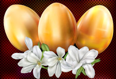 Easter eggs and flowers on a dark background Stock Photography