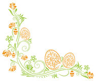 Easter eggs, flowers Royalty Free Stock Images