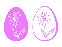 Easter eggs flowers hand drawing,social networks. Spring flowers royalty free illustration