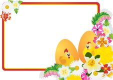 Easter eggs and flowers of the field Royalty Free Stock Photos