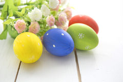 Easter eggs and flowers frame background Stock Photography