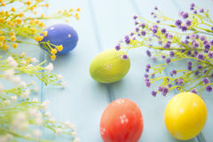 Easter eggs and flowers frame background Royalty Free Stock Photo