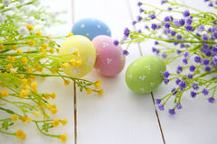 Easter eggs and flowers frame background Royalty Free Stock Photography