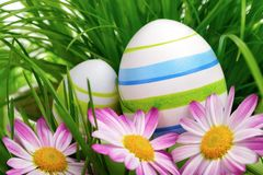 Easter eggs, flowers and grass Royalty Free Stock Photo
