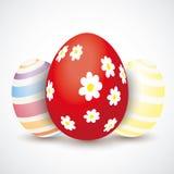3 Easter Eggs Flowers Stock Image
