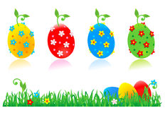 Easter eggs, flowers, green grass Stock Photos