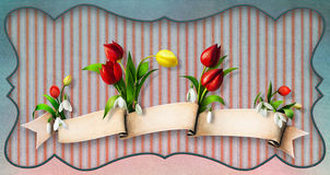 Easter eggs with flowers. Stock Photos