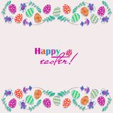 Easter eggs, flowers hand drawn on a white background. Happy easter!. Decorative horizontal stripes of eggs with decorative flowers. For romantic and Easter Royalty Free Stock Images