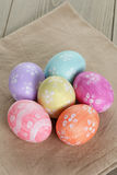 Easter eggs with flowers, handmade painted eggs Stock Photos