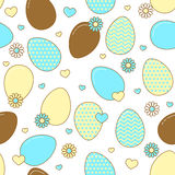 Easter eggs with flowers and hearts. Stock Photography