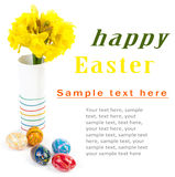Easter eggs and flowers Stock Images