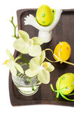 Easter eggs and flowers of orchids. Stock Images