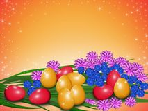 Easter eggs with flowers. Red and yellow easter eggs on an orange background with multicolored flowers Stock Photography