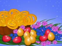Easter eggs with flowers. Red and yellow easter eggs on an orange background with multicolored flowers Stock Image