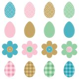 Easter eggs and flowers scrapbook on white Royalty Free Stock Photography