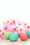 Easter eggs and flowers spring background Royalty Free Stock Photo