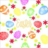 Easter eggs flowers and text Easter on a white background stock illustration