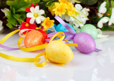 Easter eggs with flowers Stock Photo