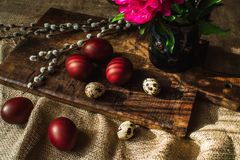 Easter eggs and flowers, willow branches 7 royalty free stock photos