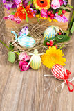Easter eggs with flowers Stock Images