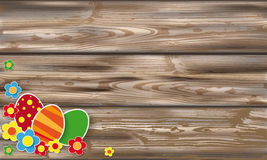 Easter Eggs Flowers Worn Wood. Easter eggs with flowers on the wooden background Royalty Free Stock Photography