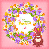 Easter eggs and flowers wreath in flat style. With place for your text. Vector illustration. Cute rabbit character. Easter template design, greeting card Royalty Free Stock Images