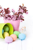 Easter eggs flowing out from bucket Stock Image