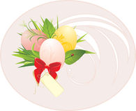 Easter eggs, foliage and red bow with card Stock Images