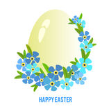 Easter eggs and forget-me flowers frame Stock Photo
