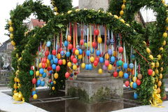 Easter eggs. Easter fountain decorated with Easter eggs royalty free stock images