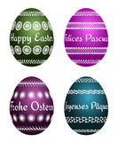 Easter eggs with four languages Royalty Free Stock Photography