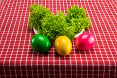 Easter eggs and fresh green salad on red white checkered tablecl. Oth. Health concept Royalty Free Stock Photo