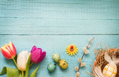 Easter eggs and fresh spring tulips on vintage boards abstract background Stock Image