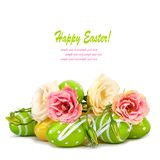 Easter eggs and fun bouquet of flowers isolated Royalty Free Stock Photography