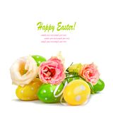 Easter eggs and fun bouquet of flowers isolated Royalty Free Stock Image