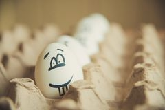 Two funny smiling eggs in a packet. Easter eggs with fun painted faces in a packet Stock Photography