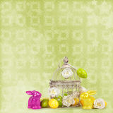 Easter eggs and funny bunny  on abstract  background Stock Photography