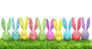 Easter eggs funny bunny green grass Stock Photos