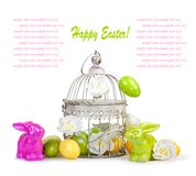Easter eggs and funny bunny isolated background Stock Photo