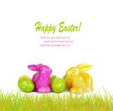 Easter eggs and funny bunny isolated. On white background Royalty Free Stock Image