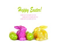 Easter eggs and funny bunny isolated Stock Photography