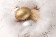 Easter eggs on fur background Stock Photo