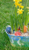 Easter eggs in garden Royalty Free Stock Image