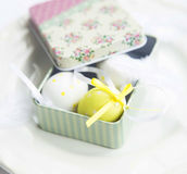 Easter Eggs in a Gift Box Stock Photos