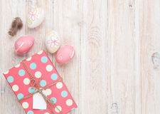 Easter eggs and gift box Stock Images