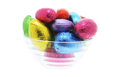 Easter Eggs in Glass Bowl Stock Image