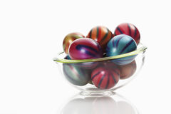 Easter eggs in glass bowl Stock Photography