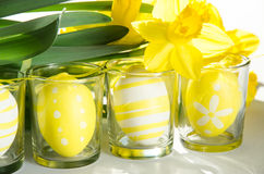 Easter eggs in glass decoration Stock Images